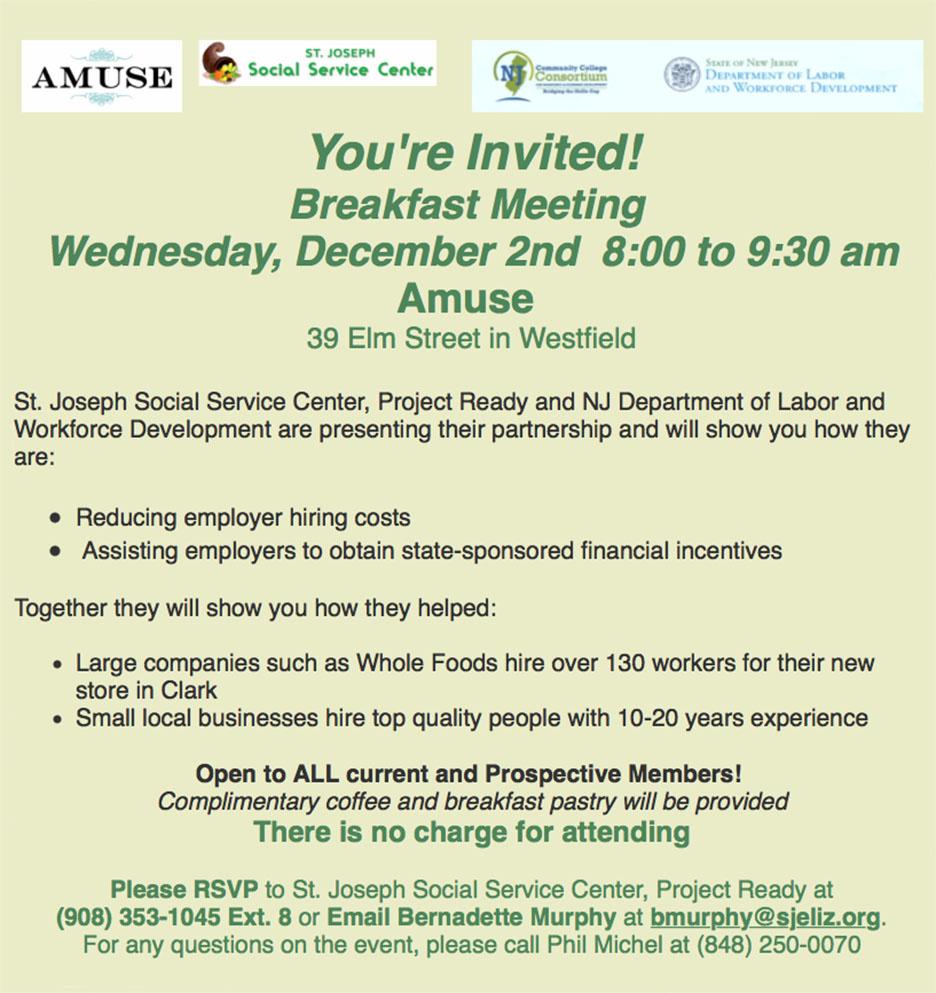 Westfield Breakfast Meeting @ Amuse | Westfield | New Jersey | United States