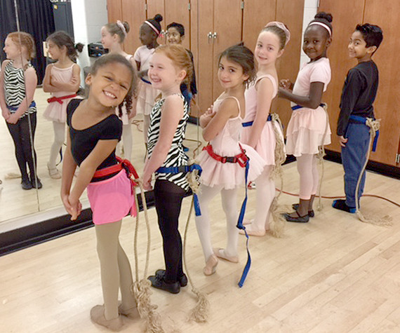 (above) Students from Rahway Public Schools practice for the role of community mice in the upcoming American Repertory Ballet's The Nutcracker to be performed at the Union County Arts Center on November 21 and 22.