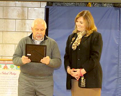 (above) Mayor Michael Giordano presents a proclamation to Stony Brook School Principal Kathy Kobylarz recognizing the new EarlyAct Club. Photo Credit: Kathy Landadio