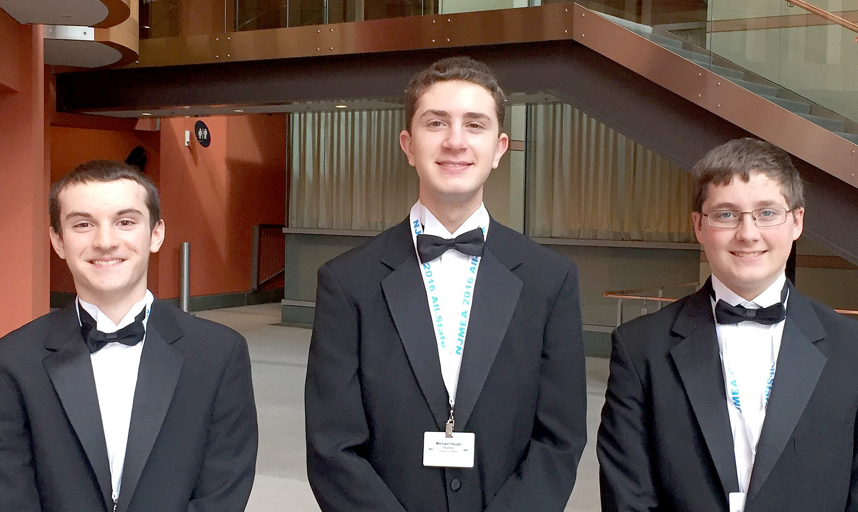 (above, l-r) Readying for their performance are Matthew Schiff, Contrabass Clarinet - All-State Symphonic Band; Michael Hauge, Bb Clarinet and Eb Clarinet - All-State Symphonic Band, and Dale Beyert, Trumpet - All-State Wind Ensemble and Orchestra.