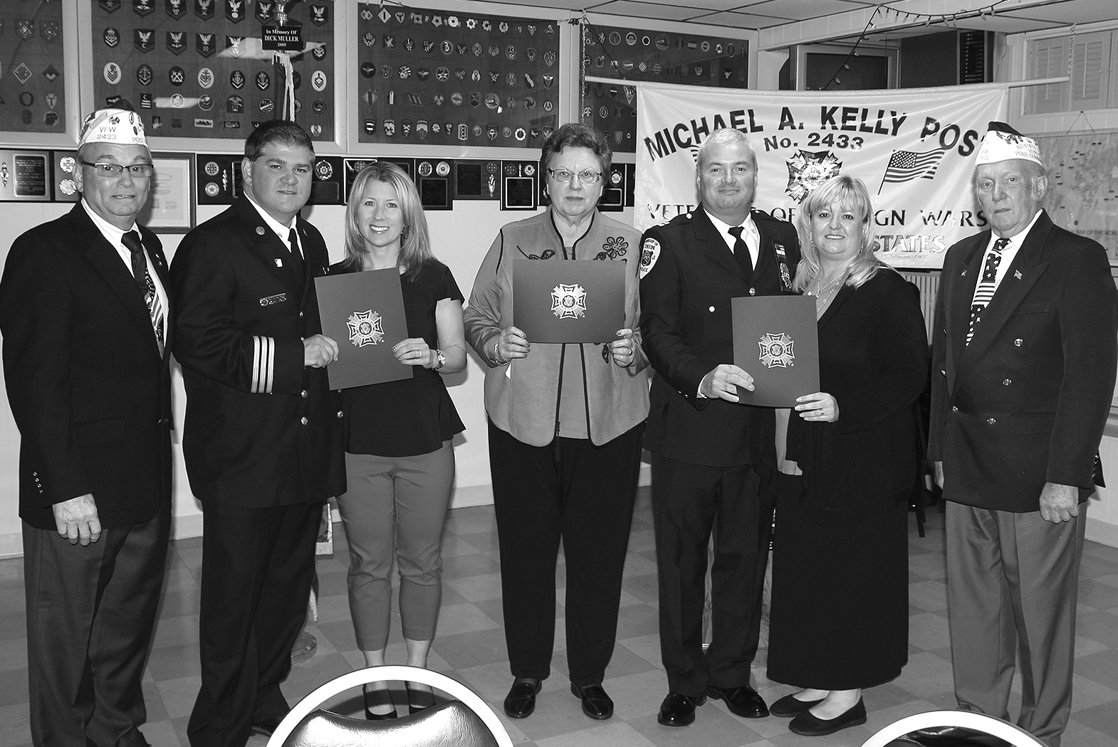 (above) On May 1, 2016, the Michael A. Kelly Post 2433, Veterans of Foreign Wars and its Ladies Auxiliary honored three township people. Sally Straus, Fire Battalion Chief Michael Scanio, and Police Captain David Tims.