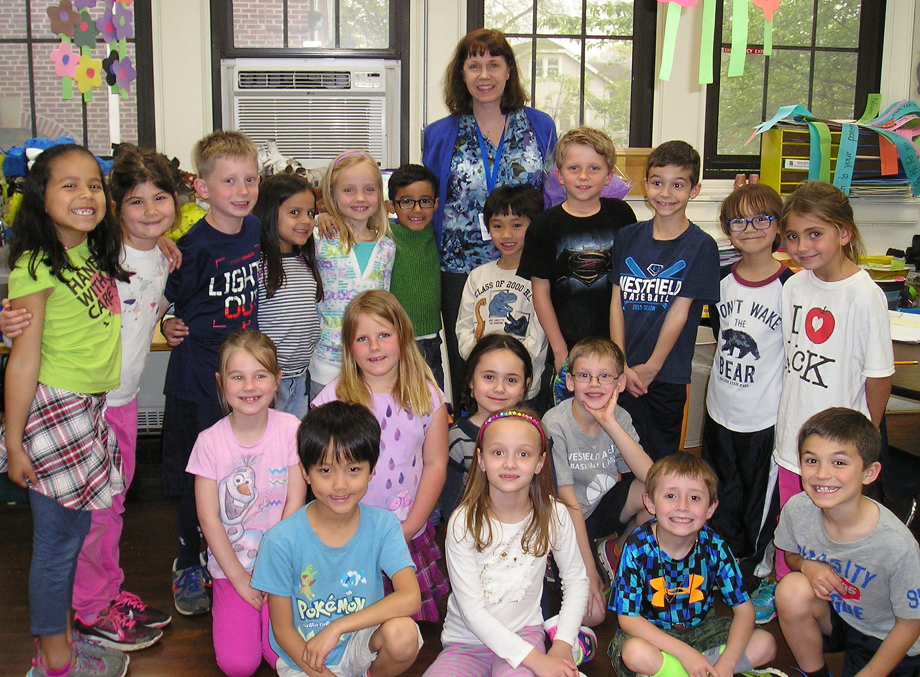 (above) McKinley Elementary School teacher, Susanne Bonhote, this year's recipient of the Westfield Rotary's Philhower Fellowship for outstanding teaching at the elementary grades, is surrounded by pleased and approving first graders in Miss Willis's class.