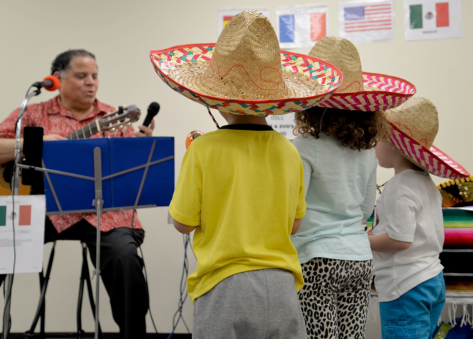 (above) Award-winning Lopatcong musician Jesse Rivera recently visited the North Plainfield Library to perform musical tributes to Cinco de Mayo. His performances were enjoyed by all.