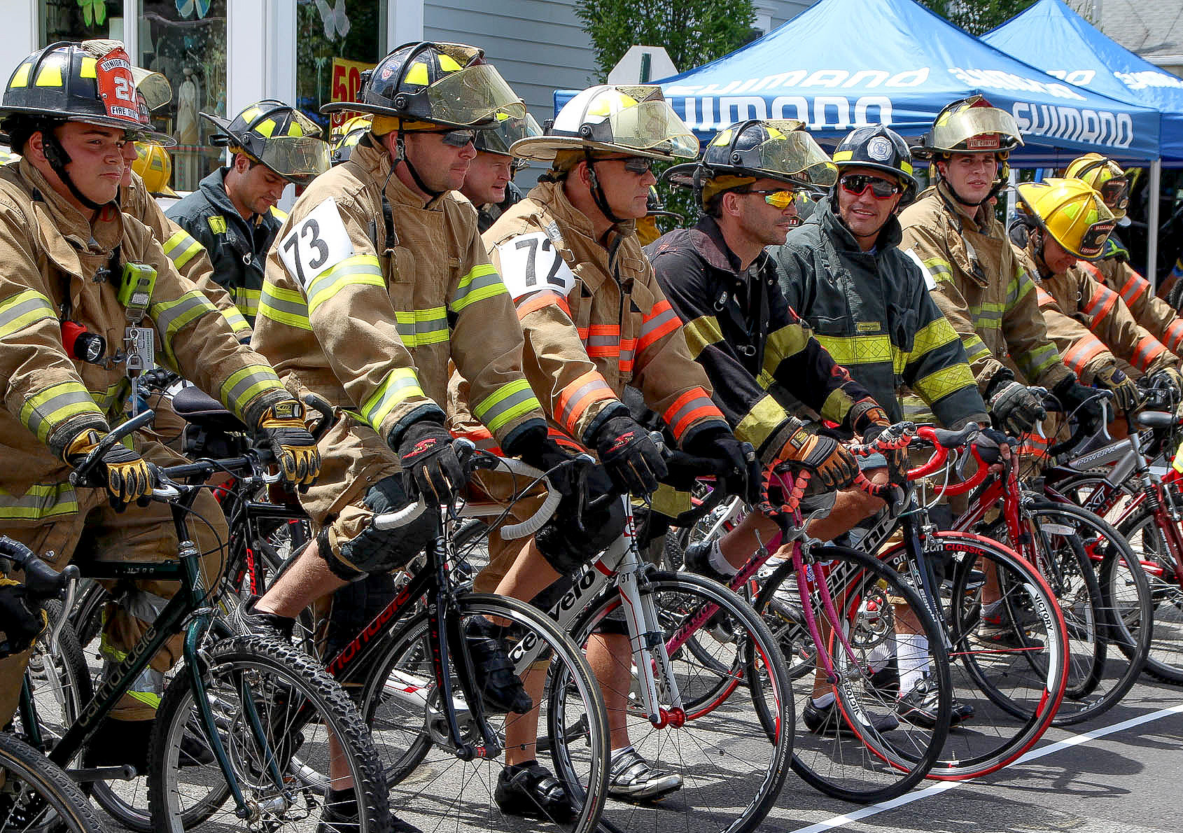 (above) Firefighters line up at starting position.