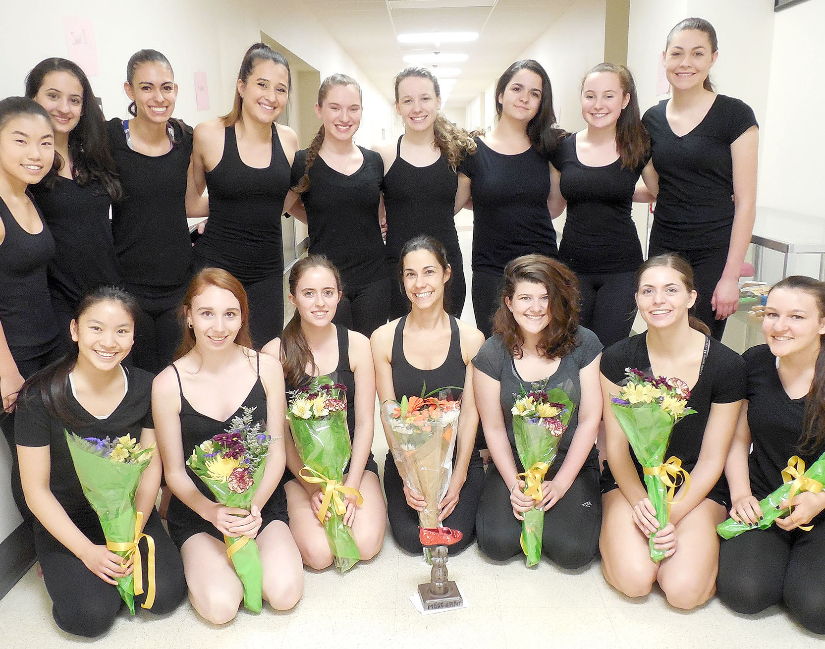 (above, kneeling, l-r) Students Michelle Shui, Lauren Loesberg, and Kaitlyn Santucci, Dance Teacher Marisa Toshi, and students Anna Paterson, Morgan Pravato, and Molly Garyantes. (standing, l-r) Students Michelle Du, Victoria Pantagis, Michelle Sucre, Dena Vayas, Katey Berger, Arielle Ostry, Sevoula Tsivgas, Sabrina Lane, and Camryn Graf.