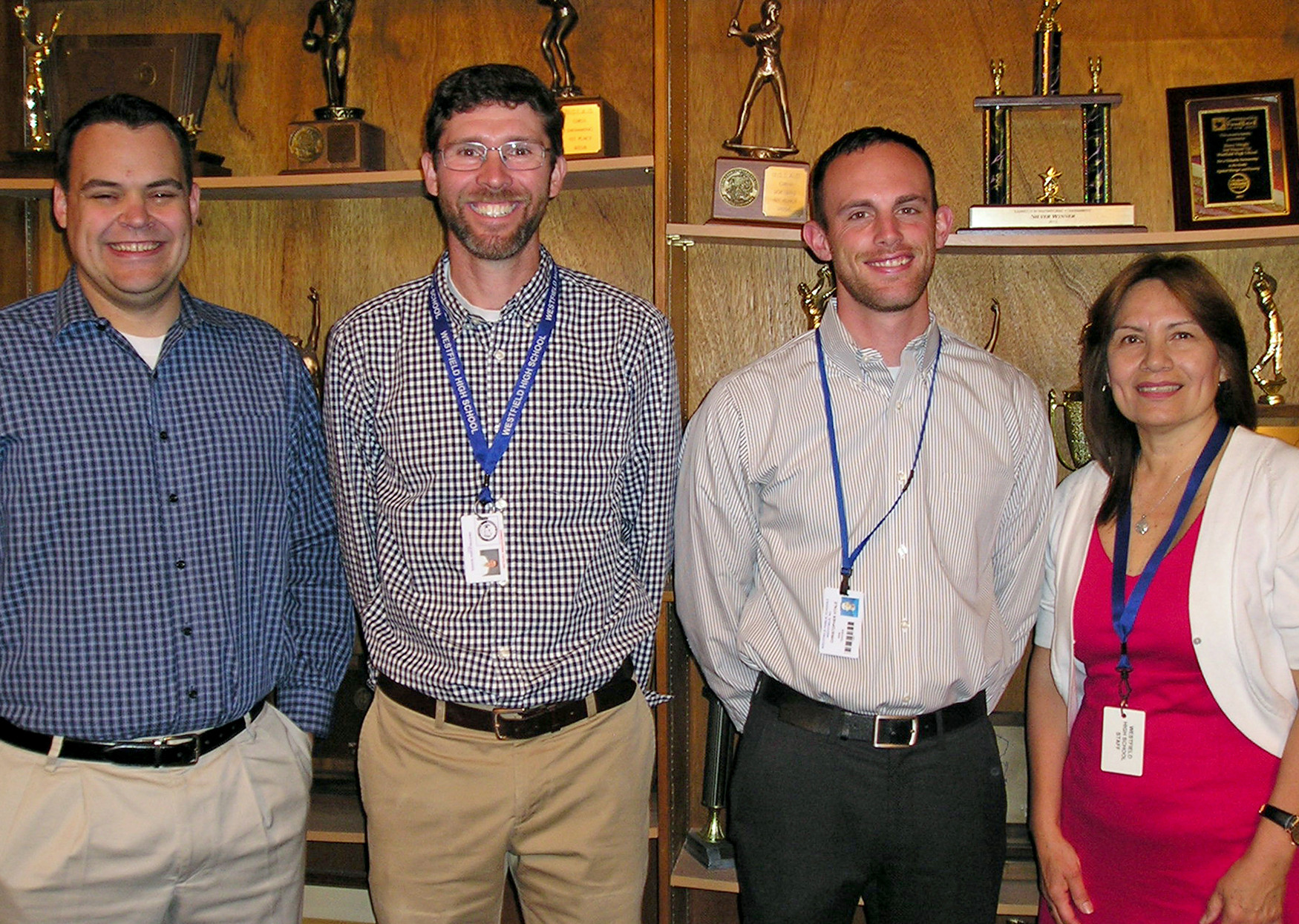 (above) Westfield High School teaching awards were presented to (l-r) Scott Rutherford (Above and Beyond Award), Christopher Tafelski (Distinguished Teacher of the Year Award), Christopher Vitale (WHS-PTSO Outstanding Teacher of the Year Award), and Maria Martinez (Robert and Linda Foose Memorial Award).