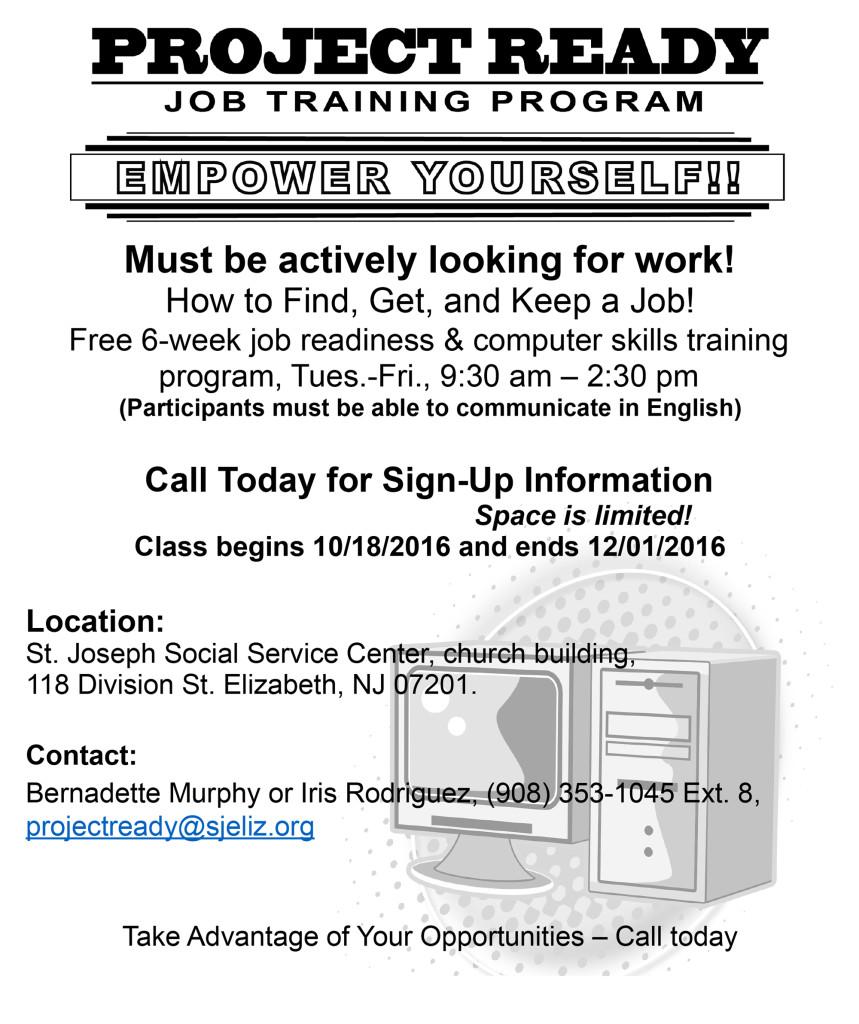 Elizabeth Project Ready Job Training Program @ St. Joseph Social Service Center, church building | Elizabeth | New Jersey | United States