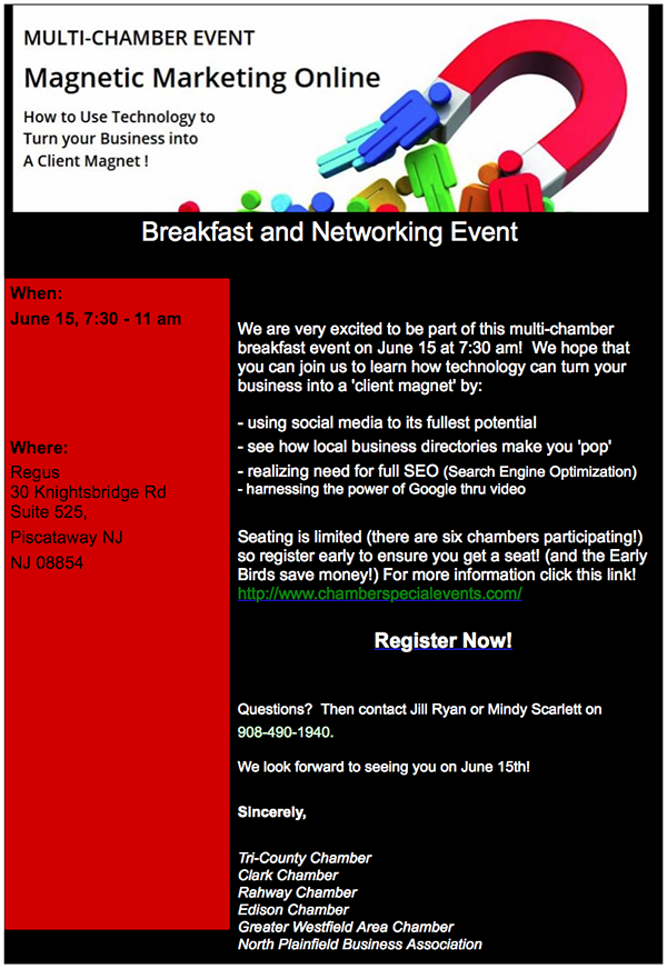 Multi-Chamber Event Magnetic Marketing Online @ Regus | Piscataway Township | New Jersey | United States