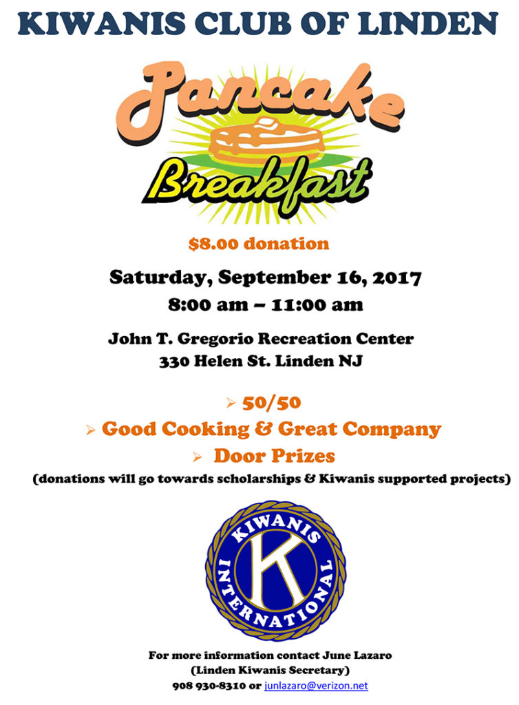 Kiwanis Club of Linden Pancake Breakfast @ John T. Gregorio Recreation Center | Linden | New Jersey | United States