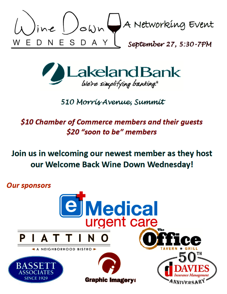 Wine Down Wednesday Networking @ LakelandBank | Summit | New Jersey | United States