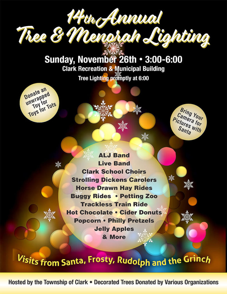 Clark 14th Annual Tree & Menorah Lighting @ Clark Recreation & Municipal Building