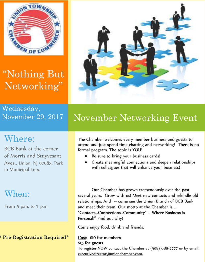 Union Chamber of Commerce Networking Event @ BCB Bank