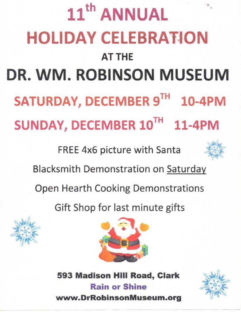 Clark 11th Annual Holiday Celebration @ Dr. WM. Robinson Museum | Clark | New Jersey | United States