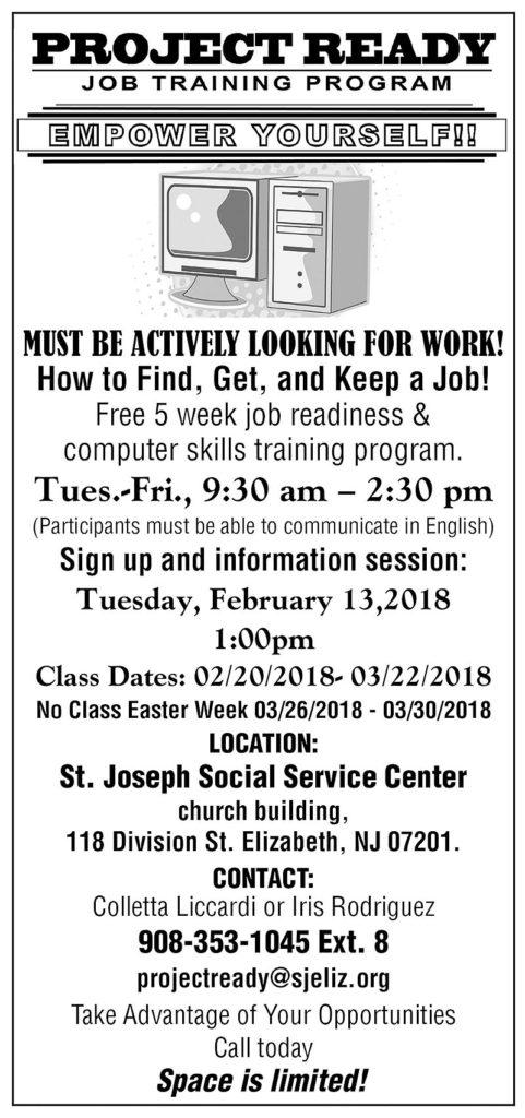 Project Ready Job Training Program @ St. Joseph Social Service Center church building | Elizabeth | New Jersey | United States