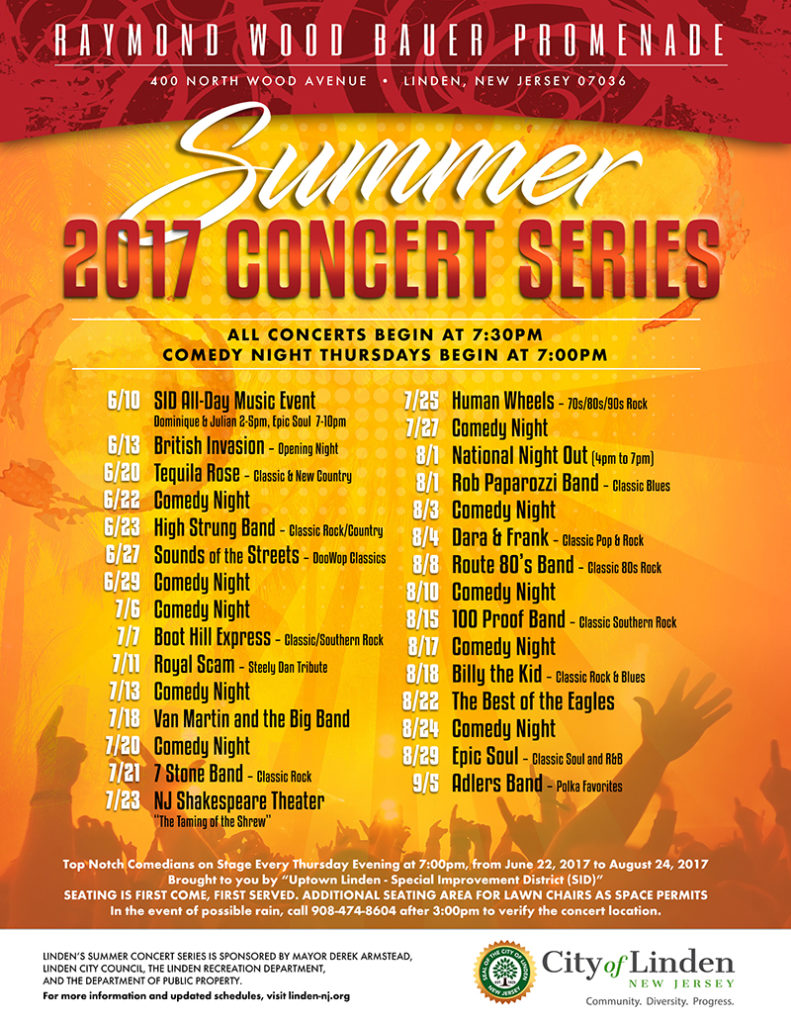 Linden 2017 Summer Concert Series @ Raymond Wood Bauer Promenade | Linden | New Jersey | United States