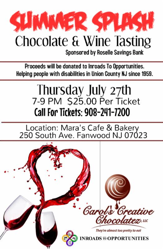 Fanwood Summer Splash Chocolate & Wine Tasting @ Mara's Cafe & Bakery | Fanwood | New Jersey | United States