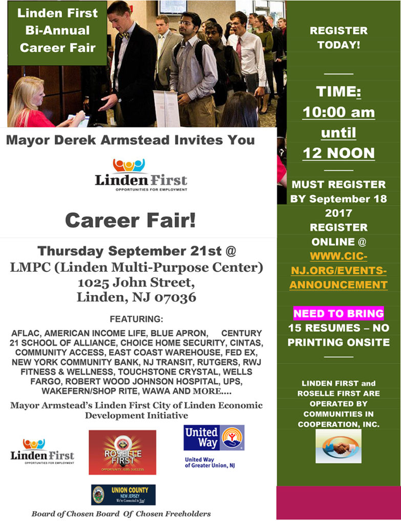 Linden First Bi-Annual Career Fair! @ LMPC (Linden Multi-Purpose Center) | Linden | New Jersey | United States
