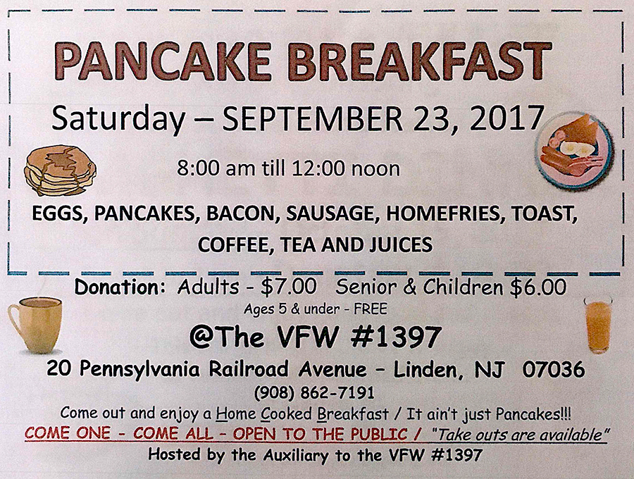 Linden Pancake Breakfast @ The VFW #1397 | Linden | New Jersey | United States