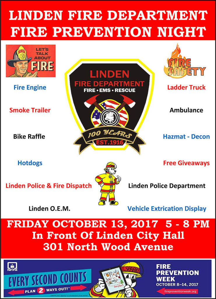 Linden Fire Department Fire Prevention Night @ In Front Of Linden City Hall | Linden | New Jersey | United States
