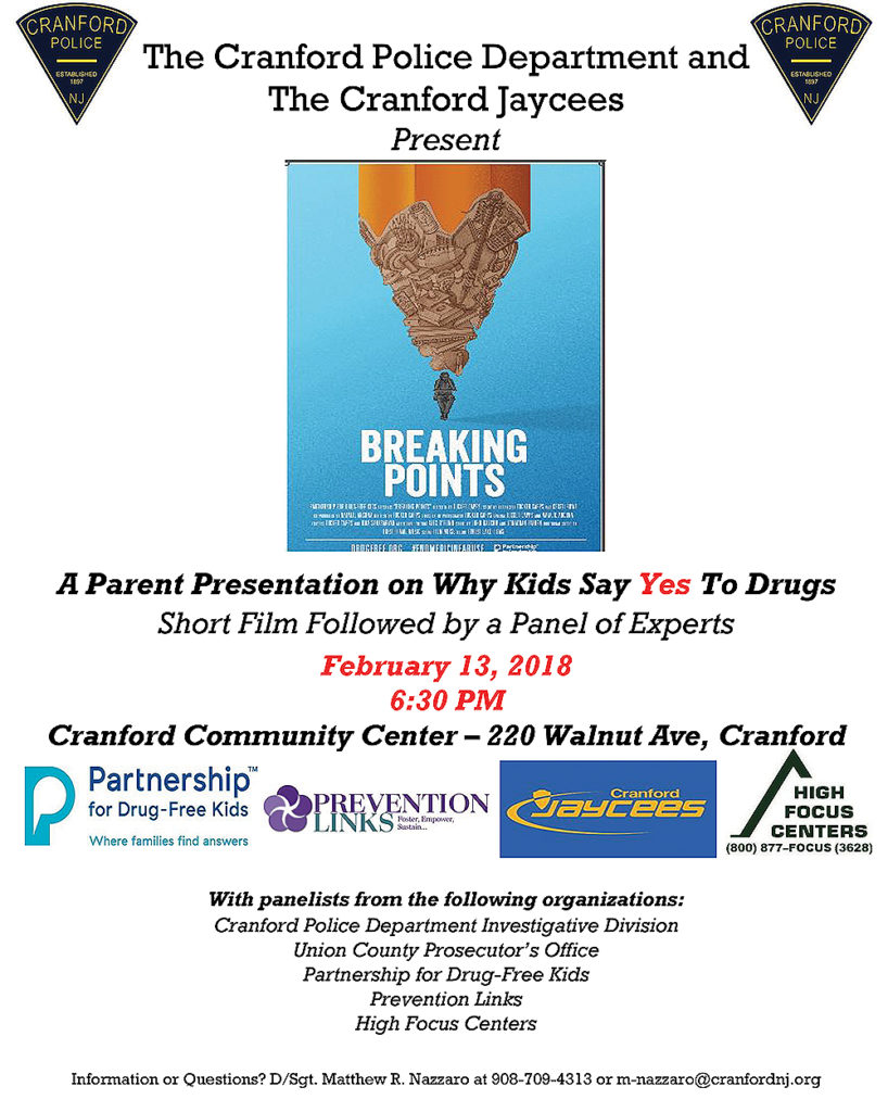 Cranford A Parent Presentation on Why Kids Say Yes To Drugs @ Cranford Community Center | Cranford | New Jersey | United States