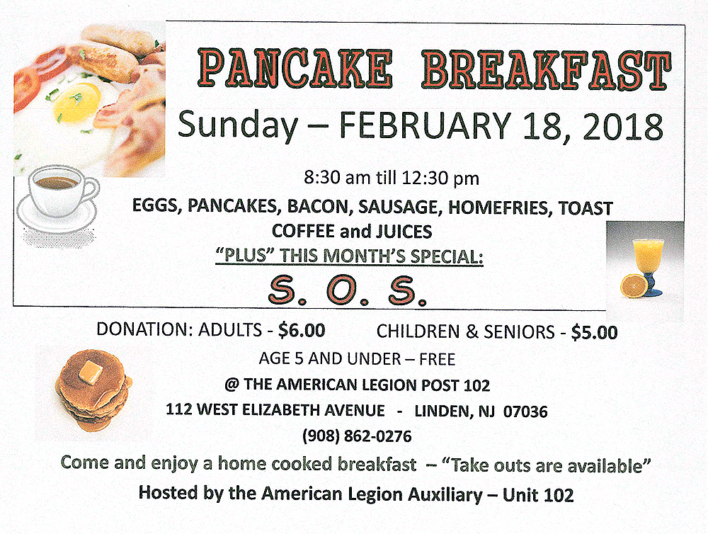 Linden American Legion Post 102 Pancake Breakfast @ American Legion Post 102 | Linden | New Jersey | United States