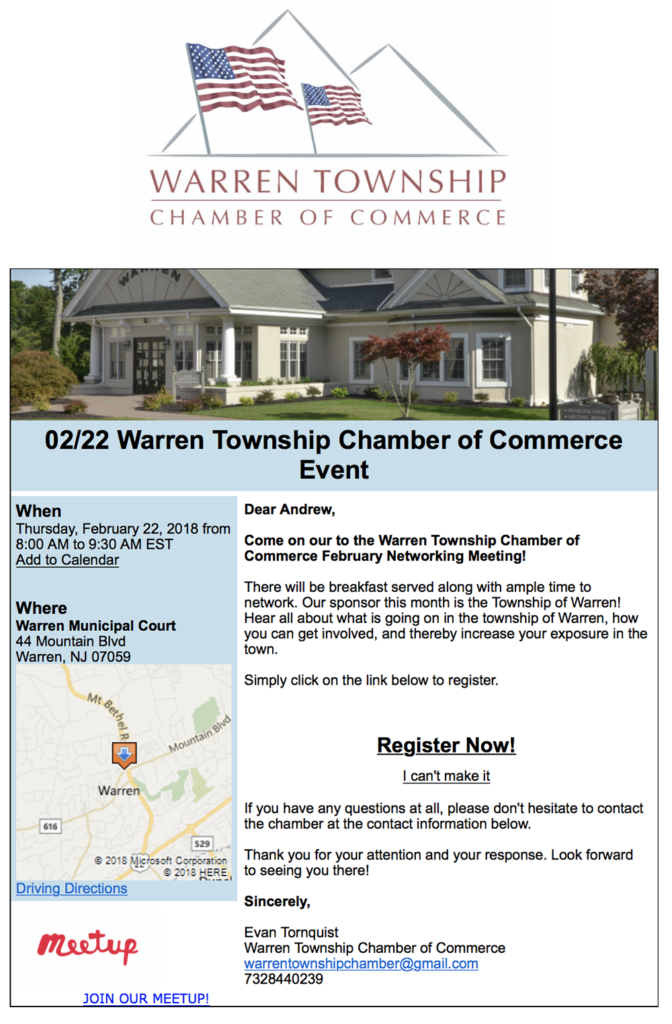 Warren Township COC Networking Meeting @ Warren Municipal Court | Warren | New Jersey | United States