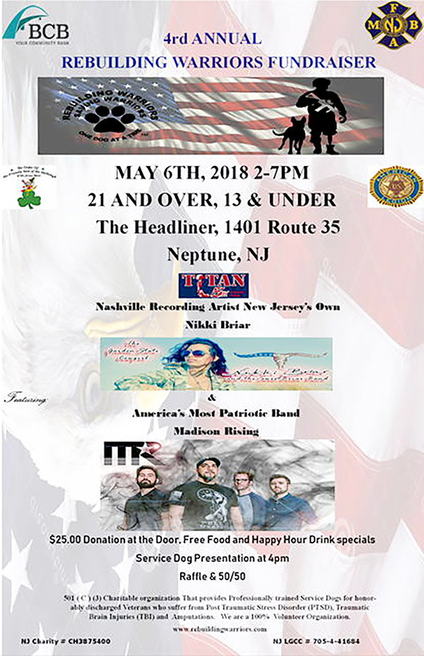 4rd Annual Rebuilding Warriors Fundraiser @ The Headliner | Neptune City | New Jersey | United States