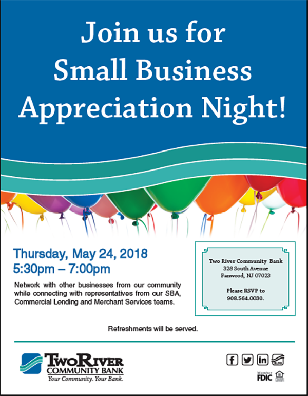 Fanwood Small Business Appreciation Night! @ Toms River Community Bank | Fanwood | New Jersey | United States