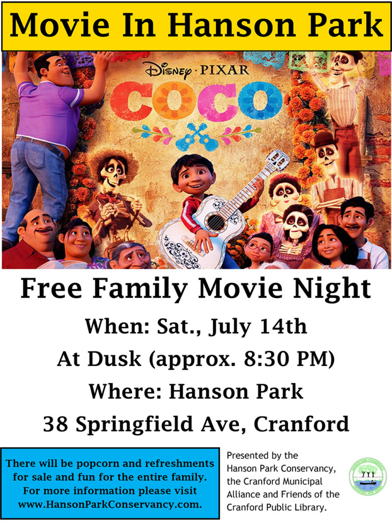 Free Family Movie Night at Hanson Park @ Hanson Park | Cranford | New Jersey | United States