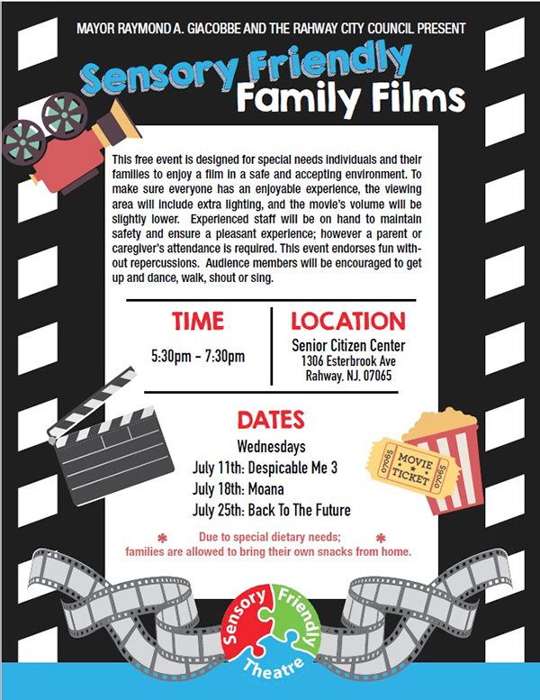 Rahway Sensory Friendly Family Films @ Senior Center | Rahway | New Jersey | United States