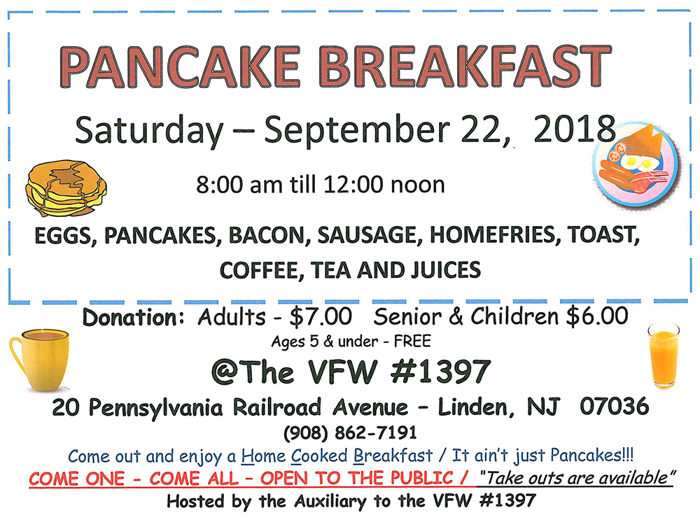 Linden VFW #1397 Pancake Breakfast @ The VFW #1397 | Linden | New Jersey | United States