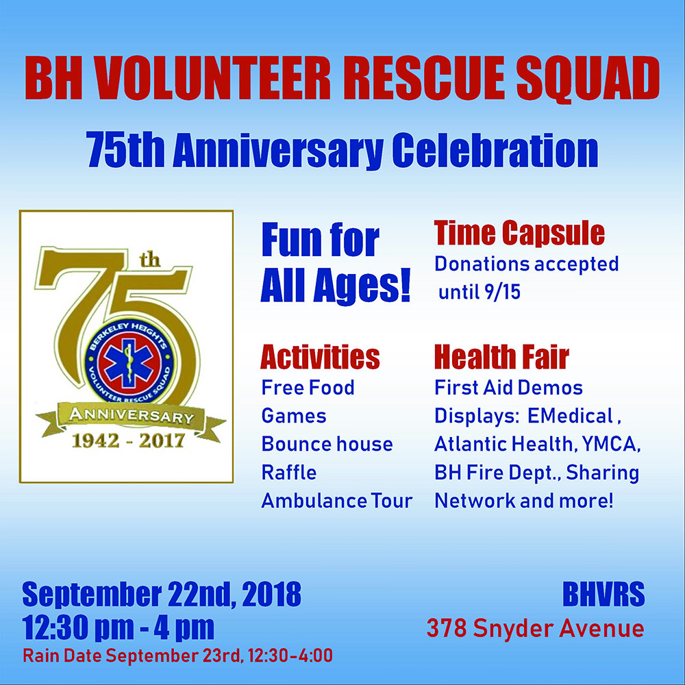 Berkeley Heights Volunteer Rescue Squad 75th Anniversary @ Berkeley Heights | New Jersey | United States
