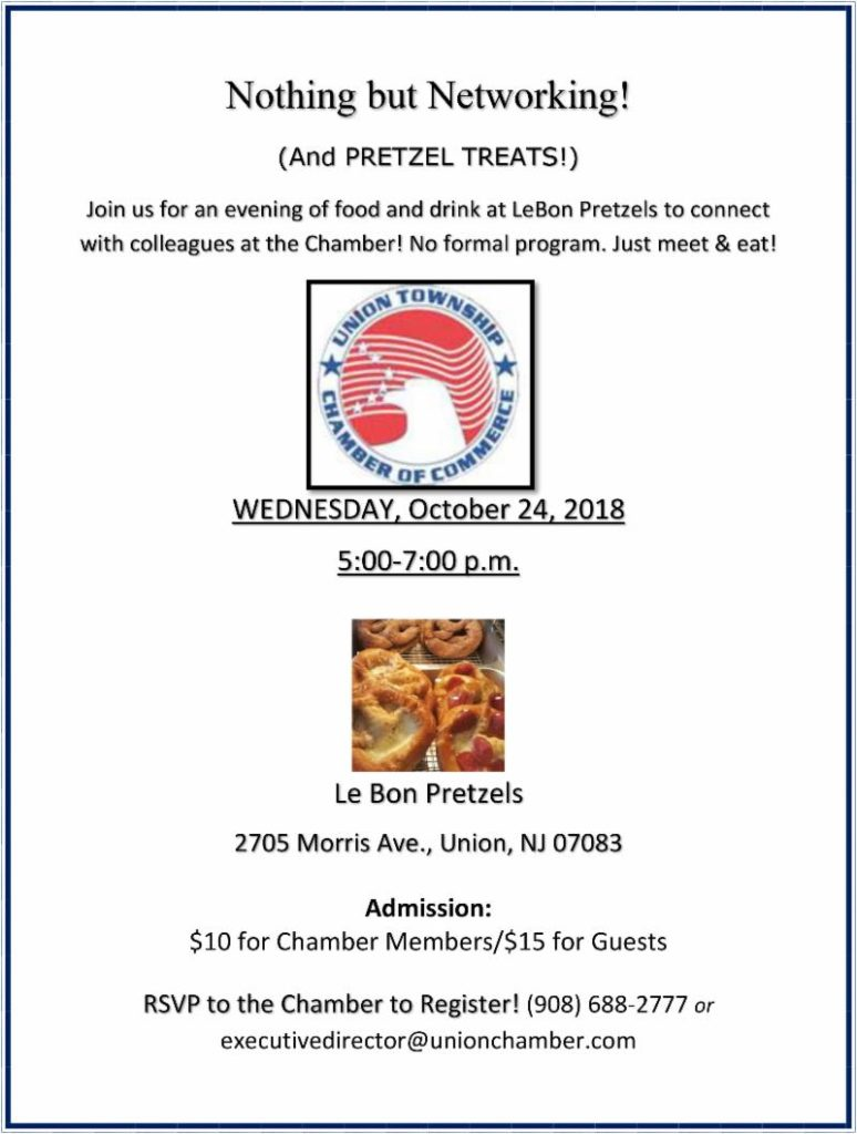 Union Chamber of Commerce Networking Event @ Le Bon Pretzels | New York | United States