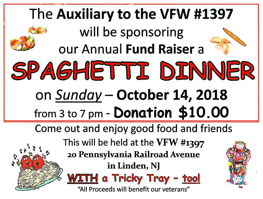 Linden VFW #1397 Spaghetti Dinner Fundraiser
