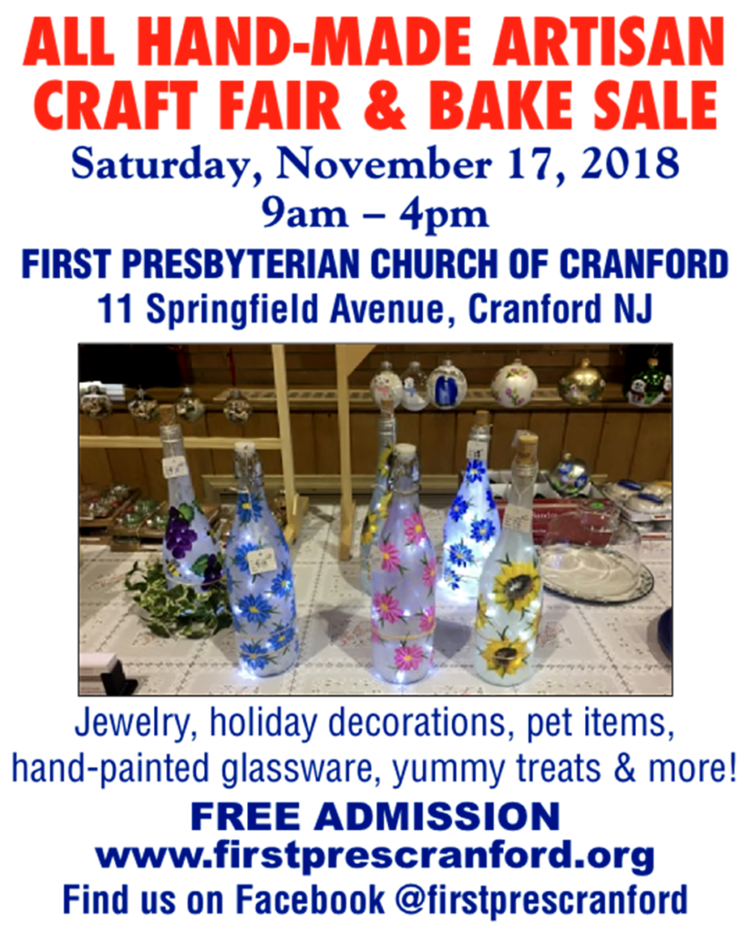 All Hand-Made Artisan Craft Fair & Bake Sale @ First Presbyterian Church of Cranford | Cranford | New Jersey | United States