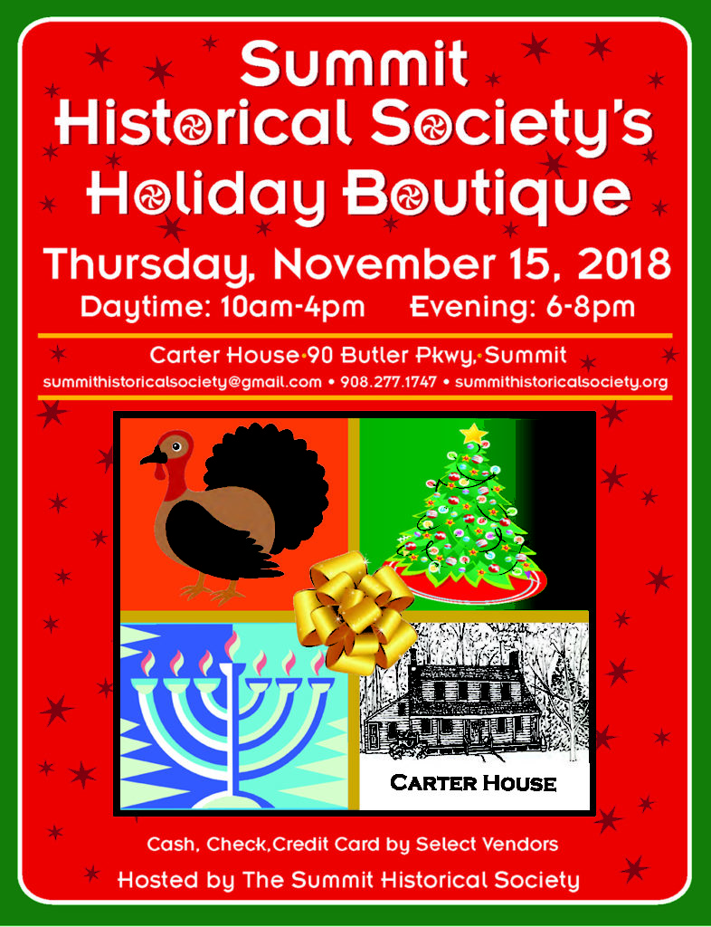 Summit Historical Society to host Annual Holiday Boutique @ Carter House | Summit | New Jersey | United States