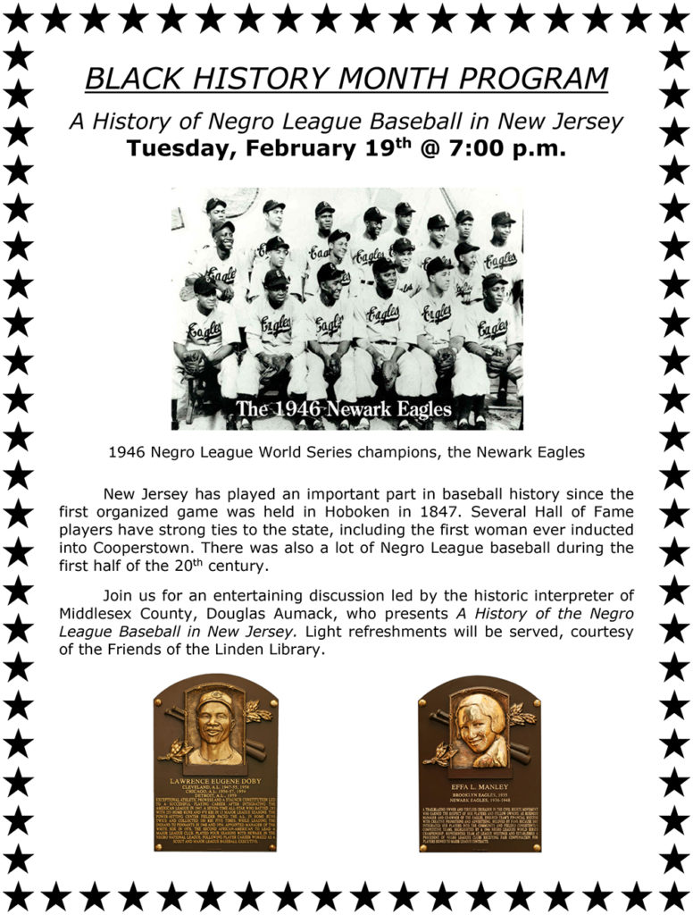 2019 BLACK HISTORY MONTH PROGRAM: A HISTORY OF NEGRO LEAGUE BASEBALL IN NEW JERSEY