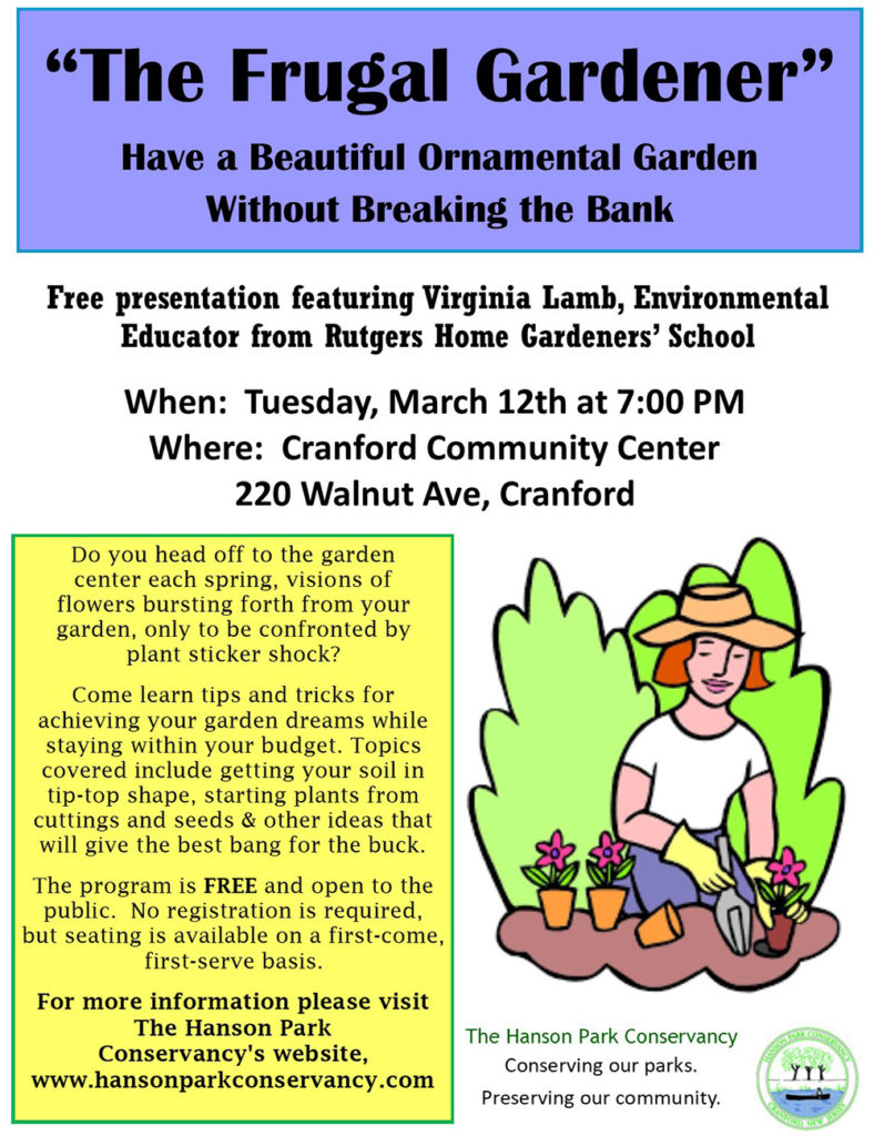 """The Frugal Gardener"" March 12 @ Cranford Community Service"