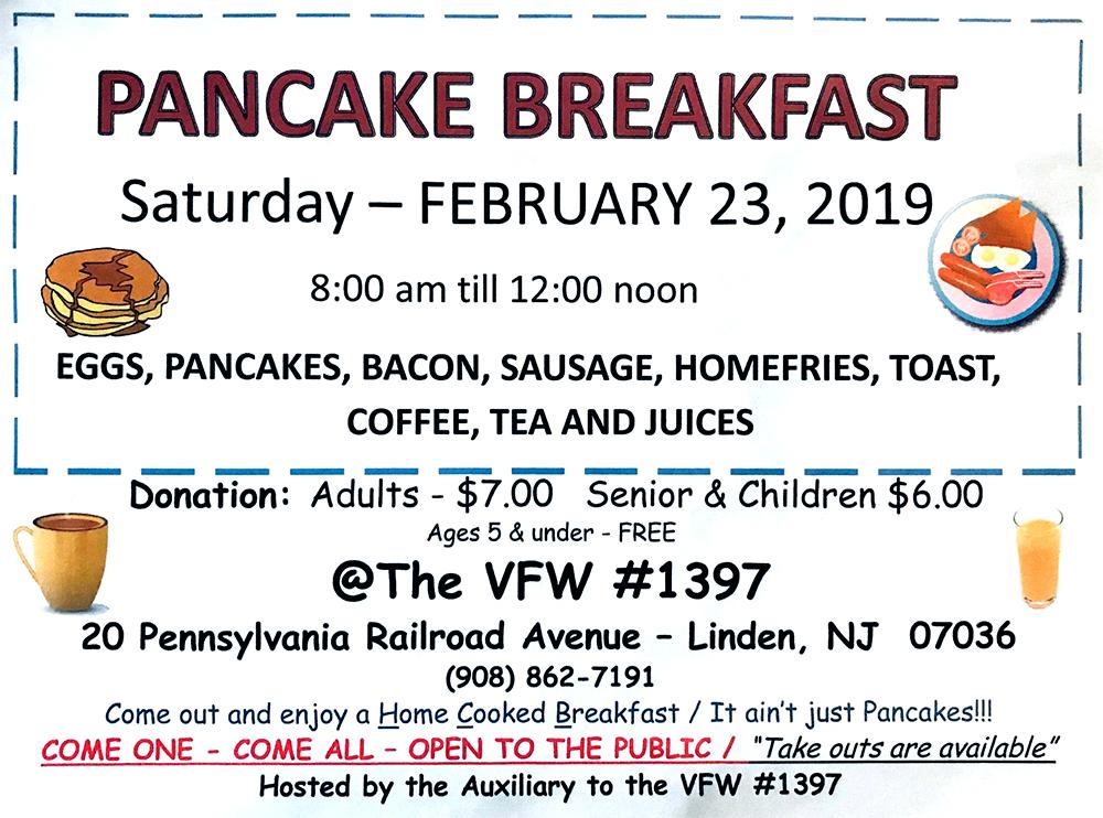 Linden Pancake Breakfast at VFW #1397