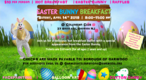 Garwood's Annual Easter Bunny Breakfast @ Columbia Club of Garwood