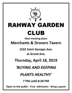 Rahway Garden Club April 2019 @ Merchants & Drovers Tavern