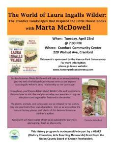 The World of Laura Ingalls Wilder with Marta McDowell @ Cranford Community Center