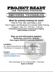 Project Ready Job Training Program Sign Up @ St Joseph Social Service Center