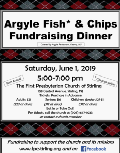 Argyle Fish & Chips Dinner Event in Stirling on June 1 @ First Presbyterian Church of Stirling