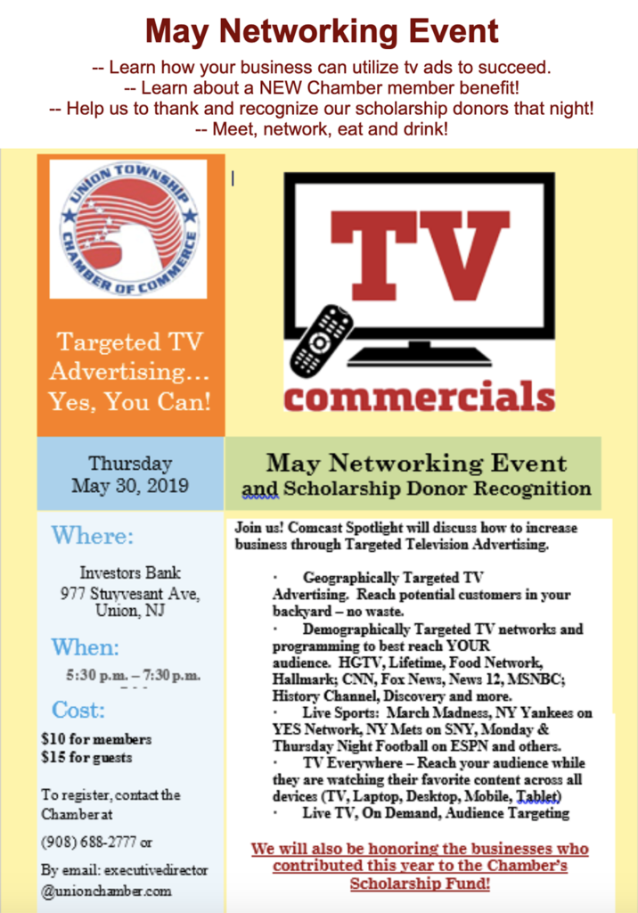 Union Township COC Networking Event @ Investors Bank