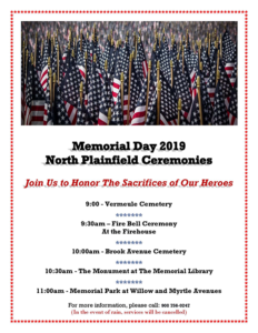 North Plainfield Memorial Day Ceremonies @ North Plainfield Borough