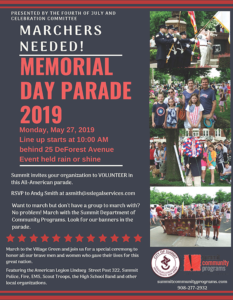 Summit Memorial Day Parade 2019 @ Parade Location