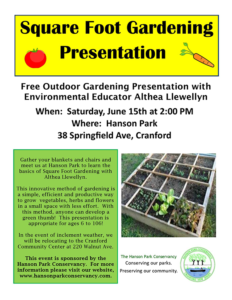 Square Foot Gardening Presentation at Hanson Park @ Hanson Park