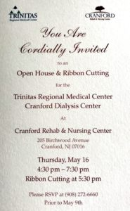Cranford Dialysis Center Open House & Ribbon Cutting @ Crqanford Rehab & Nursing Center