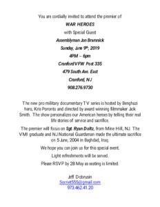 """War Heroes"" Premiere at Cranford VFW @ Cranford VFW"